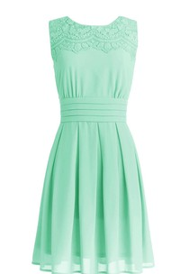 Bateau Sleeveless Chiffon short Dress With Appliques And Pleats