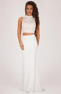 Column Keyhole High-Neck Sleeveless Chiffon Beaded Formal Dress
