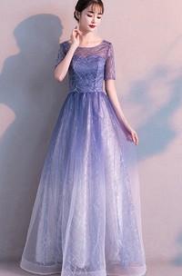 Bateau Tulle Tea-length Floor-length Evening Formal Dress With Sequins