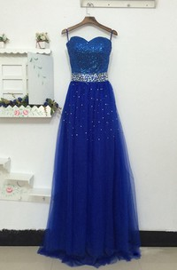 A-line Maxi Sweetheart Tulle Dress With Beading And Sequins