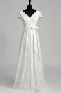 V-neck Short Sleeve Empire Bow Sash Ribbon Wedding Dress