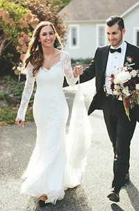 Plunged Lace Long Sleeve Wedding Dress With Appliques And Court Train