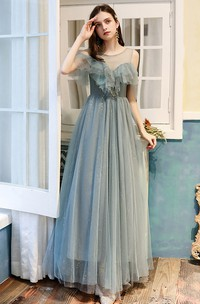 Off-the-shoulder Tulle Floor-length Prom Formal Dress With Ruffles