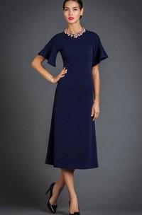 Jewel-Neck Half Sleeve Tea-length Mother of the Bride Dress