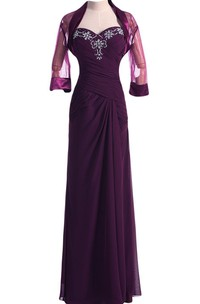 Sweetheart Criss-cross ruched Mother of the Bride Dress With Beading And cape