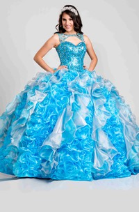 Keyhole Cascading Ruffled Back Sequined-Bodice Ball Gown
