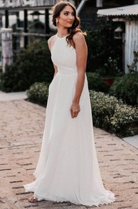 Romantic Halter A Line Lace Chiffon Floor-length Open Back Wedding Dress