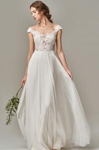 Elegant Short Sleeve A Line Chiffon Lace Bateau Wedding Dress with Appliques and Illusion V Back