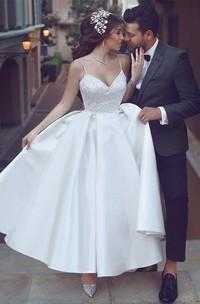 Sexy Satin A-line Spaghetti Wedding Dress with Ruching