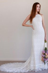 Simple Bohemian Sleeveless Sheath Lace Jewel Wedding Dress with Train