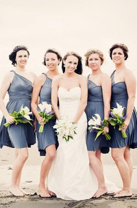 single-strap Criss cross Ruched short Bridesmaid Dress