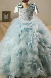 Ball Gown Scoop Sash Bow Ruffled Flower Girl Dress