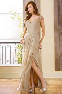 Long Side-Slit Ruffles V-Neckline Cap-Sleeved Gown