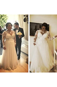 Bateau Lace Illusion Long Sleeve Wedding Gown
