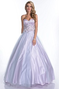 Sweetheart Glimmering Rhinestone-Bodice Strapless A-Line Formal Tulle Dress