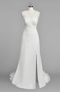 Chiffon Ruched Slit Side Sleeveless V-Neckline Dress