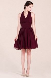 Haltered short A-line Chiffon Bridesmaid Dress With Zipper