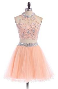 High-Neckline Rhinestoned Short A-Line Tulle Dress