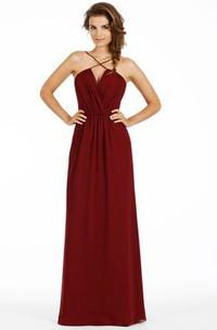 Spaghetti-strap Chiffon Bridesmaid Dress With Ruching