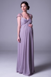 Ruched Cap Sleeve V-Neck Empire Chiffon Bridesmaid Dress With Lace And Keyhole