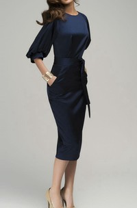 Chic Navy Blue Maxi Evening Retro Style Wedding Pencil With Belt Dress