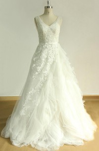 Tulle Ruffled Satin V-Neckline A-Line Bridal Lace Dress
