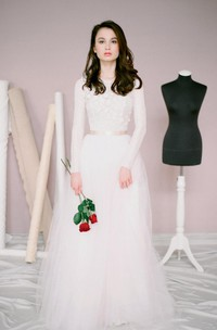 Long-Sleeve Tulle Jewel-Neckline Modest Wedding A-Line Dress