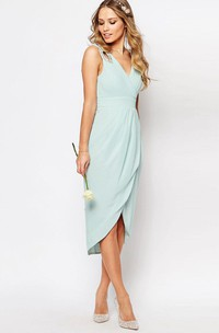 V-neck Sleeveless Chiffon Ruched Dress With Beading And Draping