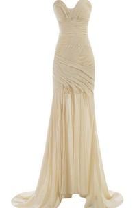 Brush-Train Ruched Rhinestone Sleeveless Sweetheart Gown