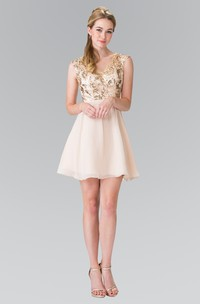 A-Line Keyhole Sequined Short Mini Sleeveless V-Neck Chiffon Dress