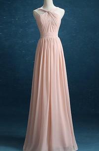 Haltered Chiffon A-line Floor-length Dress With Pleats