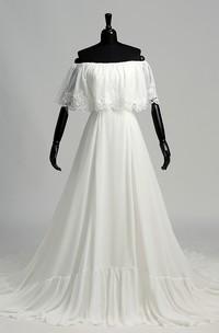 A-line Chiffon Off-the-shoulder Chapel Train Sleeveless Lace Pleats Ruched Wedding Dress