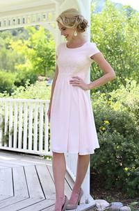 Lace Embellishment Midi-Length Short-Sleeve Dress