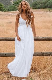 Bohemian Sleeveless A Line Chiffon Lace Spaghetti Floor-length Wedding Dress