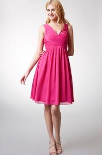 Chiffon Knee-length V-neck Sleeveless Bridesmaid Dress With Ruching