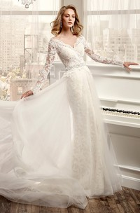 V-neck Illusion Long Sleeve Lace Tulle Sheath Dress With Court Train