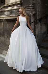 Simple Satin Bataeu Neckline Sleeveless Wedding Dress
