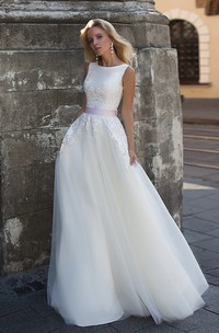 Ethereal Chiffon and Tulle Scoop Neckline Corset Back Wedding Dress