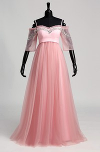 Off-the-shoulder Half Sleeve Empire Beading Dress