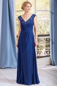 A-Line Appliqued Neck V-Neckline Cap-Sleeved Gown