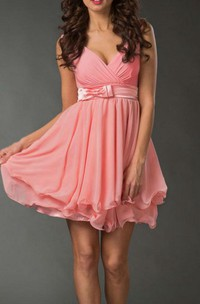 Short Sleeveless Sleeve Chiffon Dress