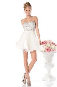 A-Line Ruffled Jeweled Short Mini Sleeveless Sweetheart Backless Dress