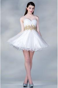 A-Line Waist Jeweler Ruffled Mini Sweetheart Sleeveless Strapless Satin Dress