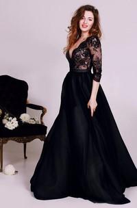 Sexy Black Lace Appliques V-neck 2018 Evening Dress 3-4-Length Sleeve A-line