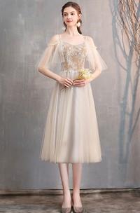 Tea-length Off-the-shoulder V-neck Tulle Formal Cocktail Dress With Appliques