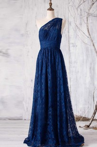 One-shoulder Lace Sleeveless Pleated Bridesmaid Dress
