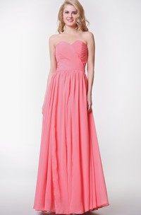 Chiffon Convertible Strapped Pleated Sweetheart Gown