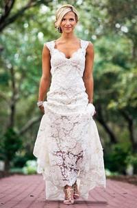 V-Neckline Keyhole Back Lace Cap-Sleeved Country Long Dress
