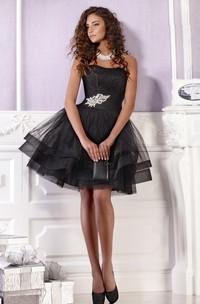 Mini Sleeveless Zipper Short A-Line Tulle Strapless Dress