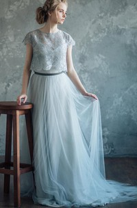 Jewel-Neck Cap-sleeve Tulle A-line Dress With Lace cape And Sweep Train